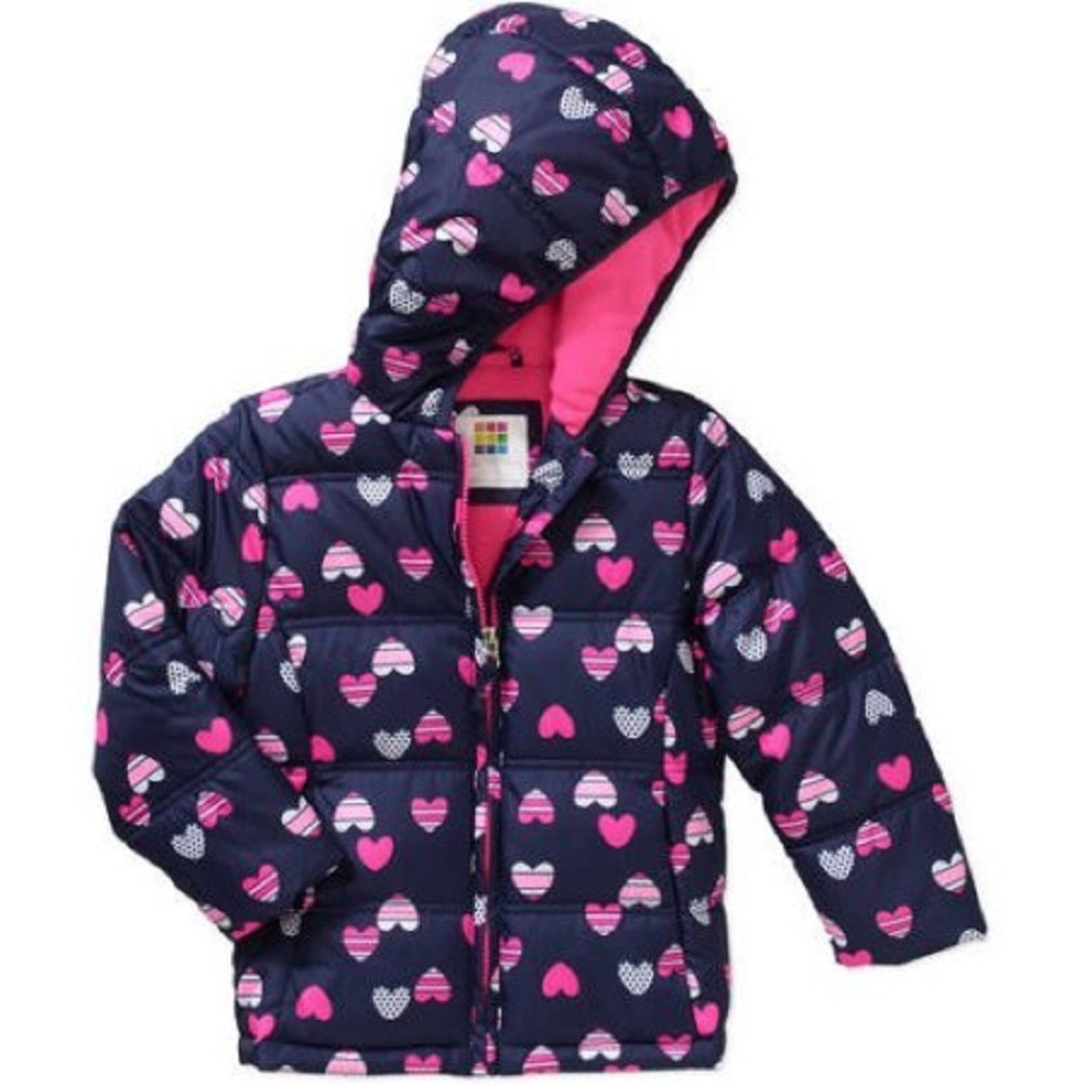 9b30d0f06 Healthtex Baby Toddler Girls' Bubble Puffer Jacket, 3T, Navy/Pink Hearts