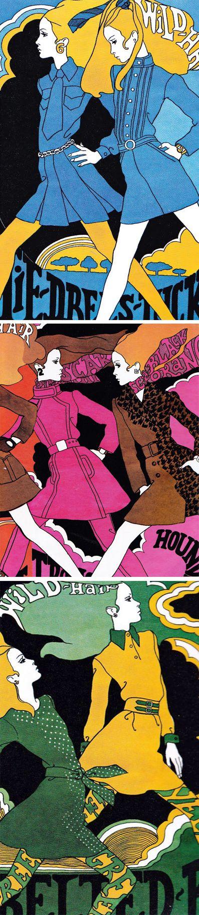 Illustrations by Antonio Lopez, originally for Intro Magazine 1967. ( retro fashion illustration / 60s / Psychedelic Art / Retro Design )