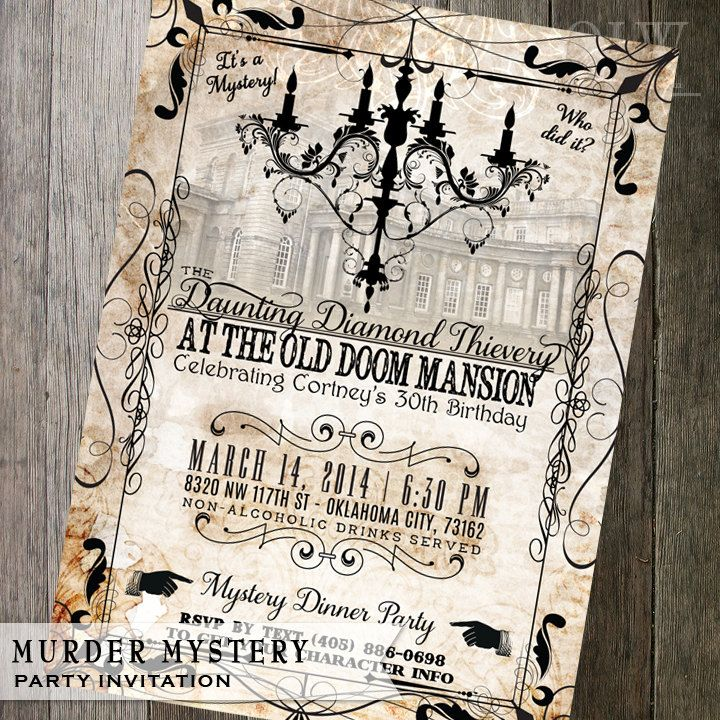 Vintage Murder Mystery Dinner Party Invitation by OddLotEmporium ...