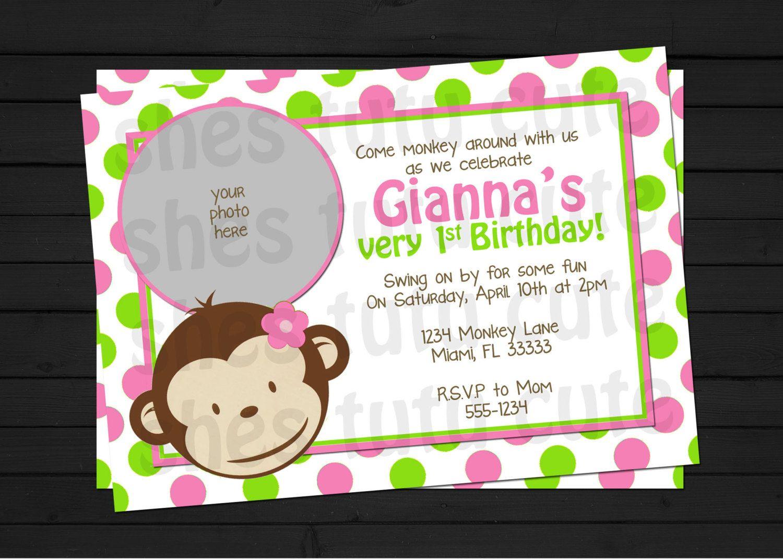 Mod Monkey Girl Birthday Invitation Digital File YOU-PRINT. $11.00 ...