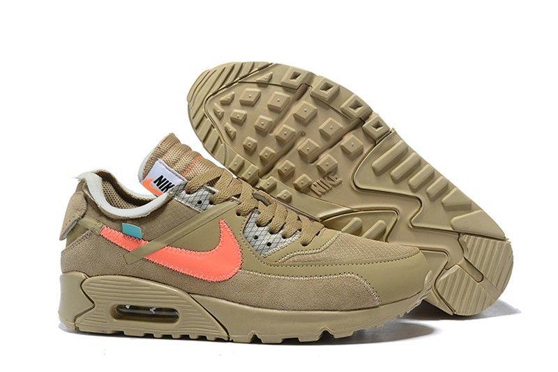 Off-White x Nike Air Max 90 Desert Ore Desert Ore-Hyper Jade-Bright Mango  Sports Life Shoes AA7293-200 4a6cdecab