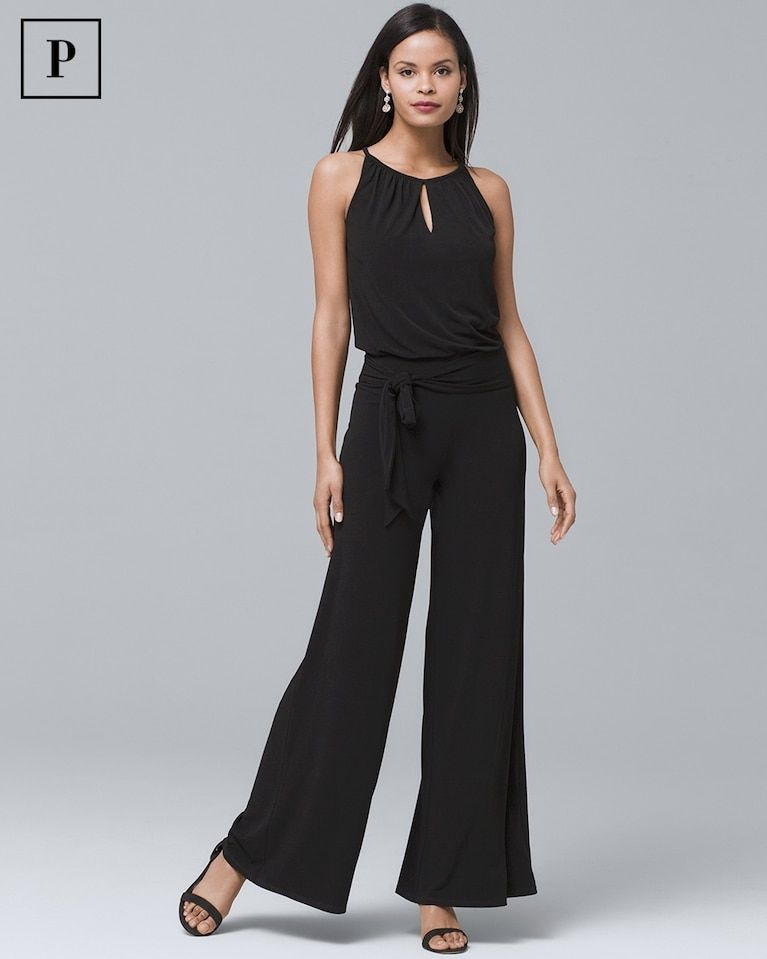 cb3778b93231 Women s Petite Wide Leg Keyhole Black Jumpsuit by White House Black Market