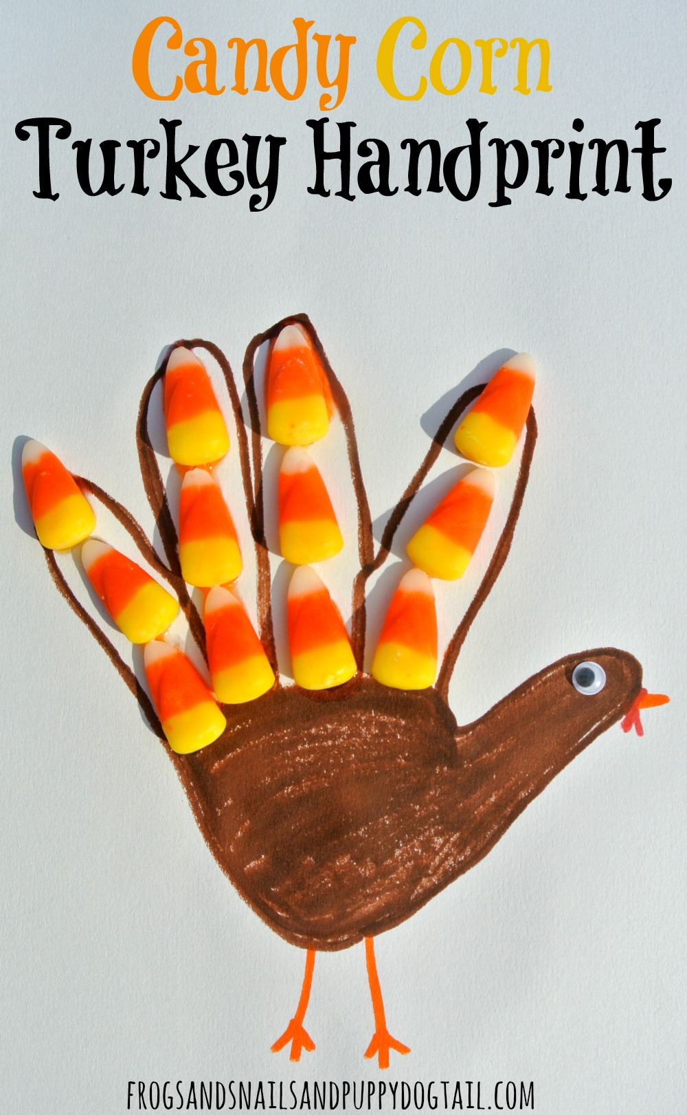 Candy Corn Turkey- Classic Handprint Art for Thanksgiving #handprintturkey