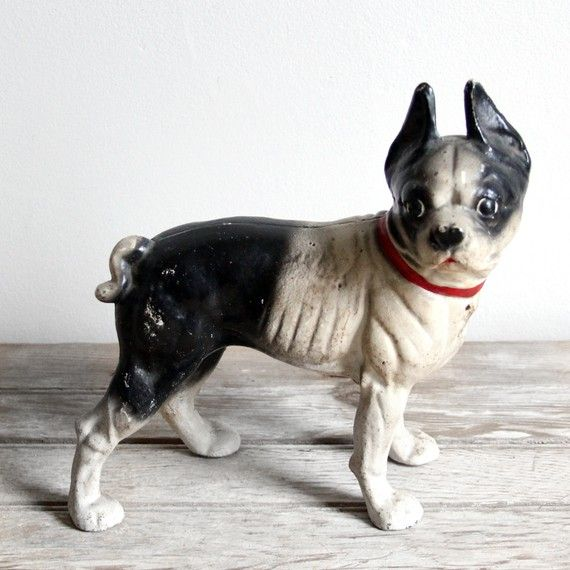 Antique hubley cast iron boston terrier doorstop - Antique Hubley Cast Iron Boston Terrier Doorstop Terrier, Iron And