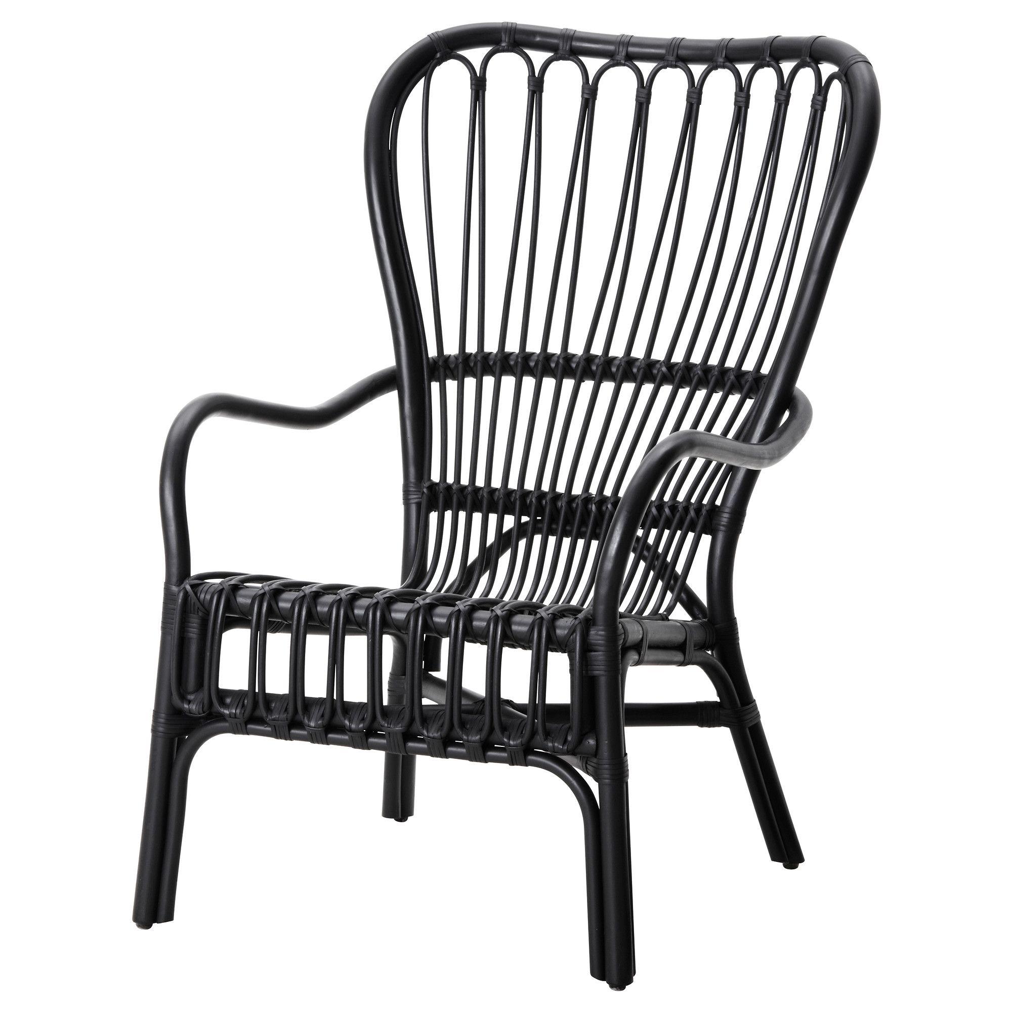 storsele armchair, black, rattan | armchairs, rattan and porch