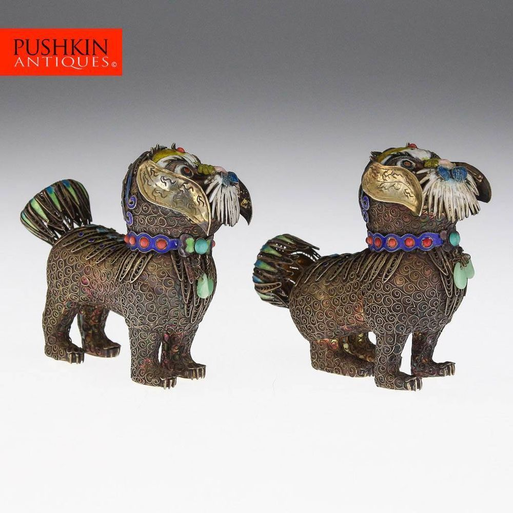 ANTIQUE 20thC CHINESE SOLID SILVER & CLOISONNE ENAMEL PAIR OF DOG FIGURES c1930