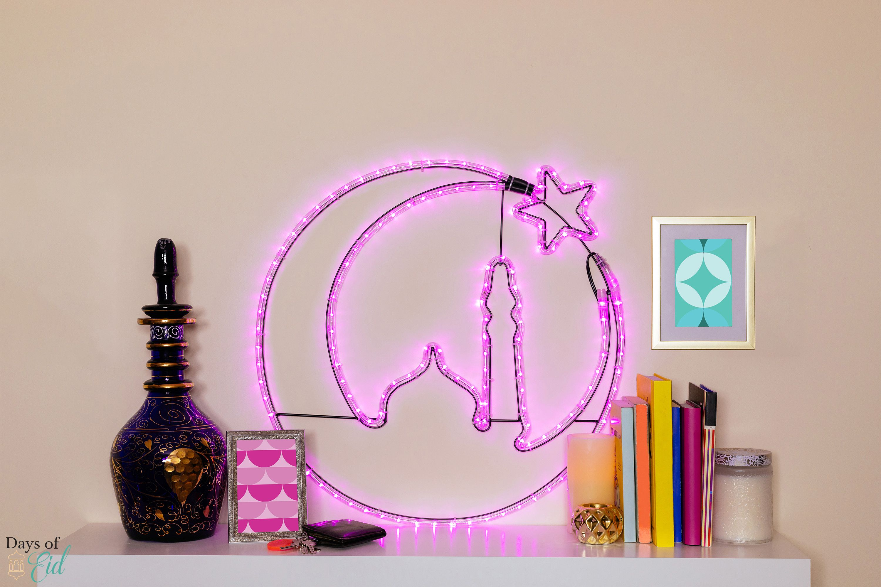 Crescent Moon With Mosque Silhouette Led Light