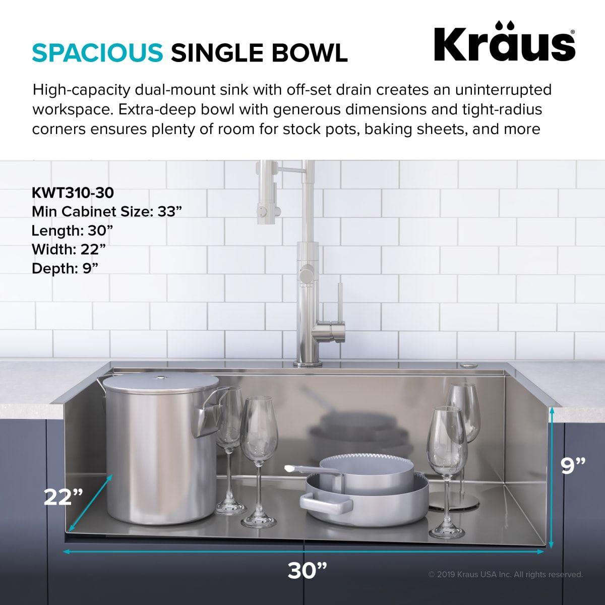 Kraus Kwt310 30 In 2020 Single Bowl Kitchen Sink Sink