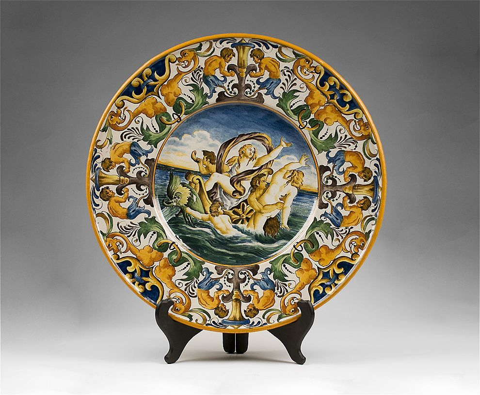 Renaissance Style 19th C Hand Painted Majolica Wall Charger Renaissance Fashion Renaissance Majolica