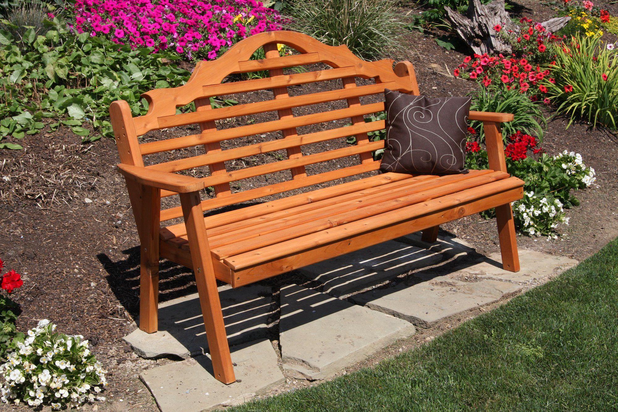 5ft Western Cedar Marlboro Garden Bench Outdoor Garden Bench Wood Patio Furniture Garden Furniture