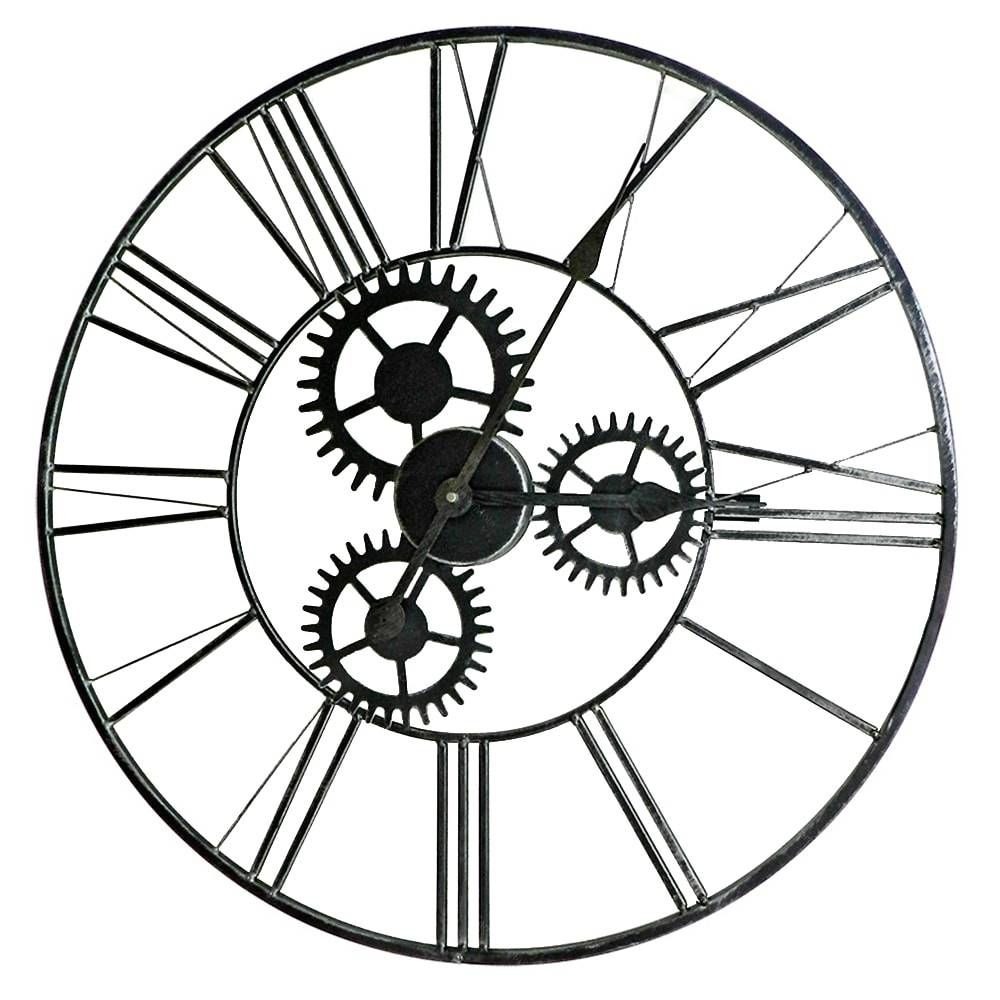 Relógio de Parede Engrenagem Grafite em Metal - 59x59 cm | Carro de Mola - Decorar faz bem.
