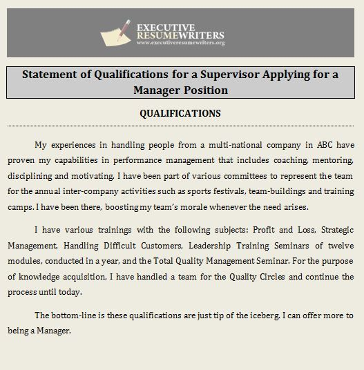 Professional #Help with #Statement of #Qualifications #Executive