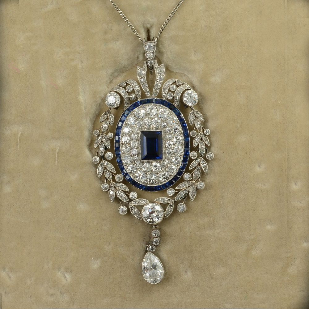John joseph pendants platinum set fine quality sapphire and diamond