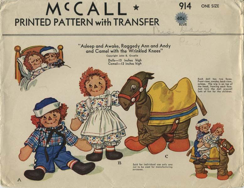 Vintage Sewing Pattern for Raggedy Ann, Andy and Camel Stuffed Dolls ...