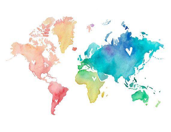 57 or 8.511  Rainbow World Love / Watercolor Map Print / Wedding Gift / Anniversary Gift / Moving Gift / Travel / Wanderlust