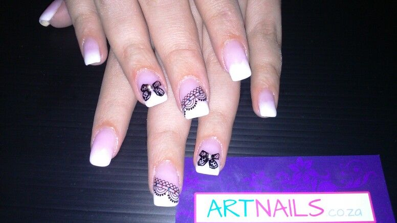 Ombre Dark Pink And White Acrylic Nails With Nail Art Sticker And