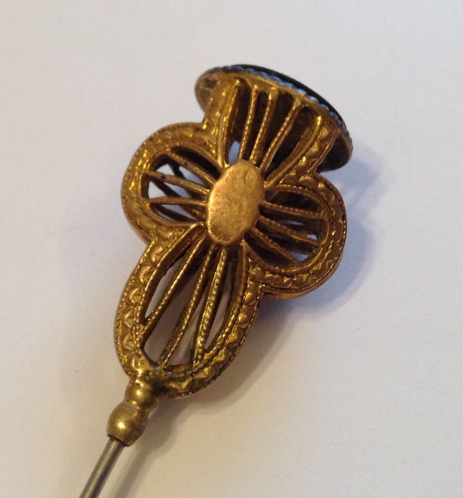 b11d4992a61c ANTIQUE VICTORIAN GOLD FILLED FILIGREE MONOGRAM HATPIN H4 Victorian Gold,  Belles Choses, Stick Pins