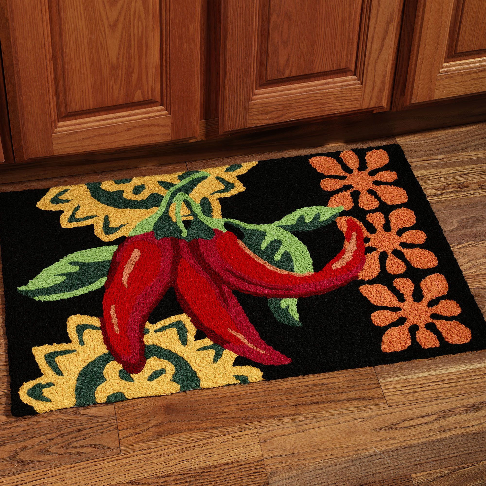 Cayenne Peppers Handmade Kitchen Rug