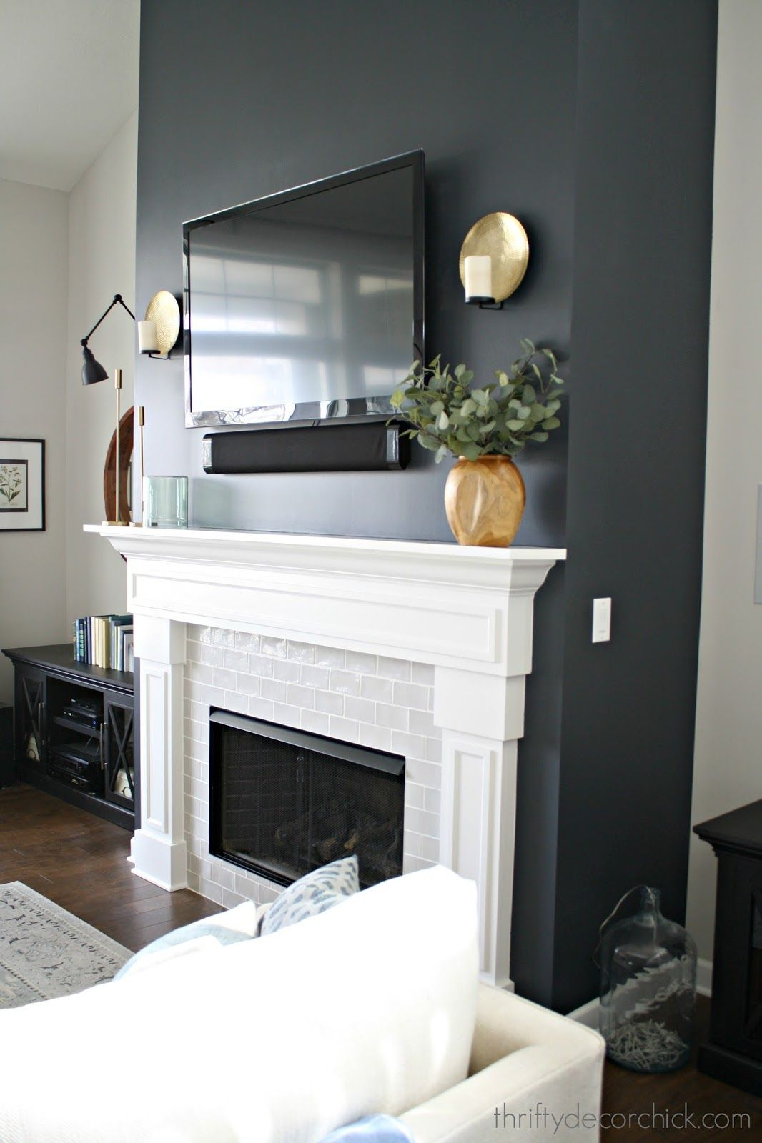 Cyberspace From Sherwin Williams Thriftydecorchic Feature Wall Living Room Fireplace Feature Wall White Fireplace
