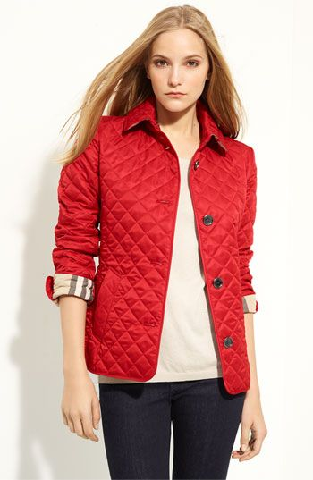 Burberry Brit 'Copford' Quilted Jacket $495.00 | Completed Pins ... : red burberry quilted jacket - Adamdwight.com