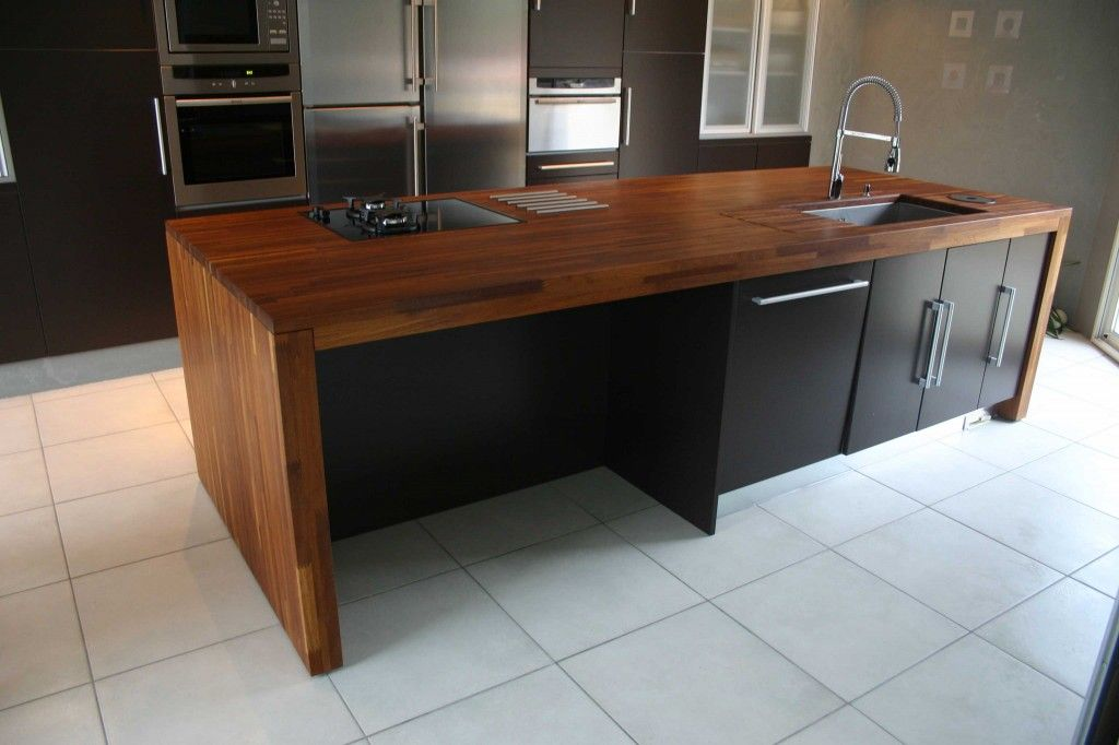 idée cuisine noir plan de travail bois Sous sol - teck salle de bain sol