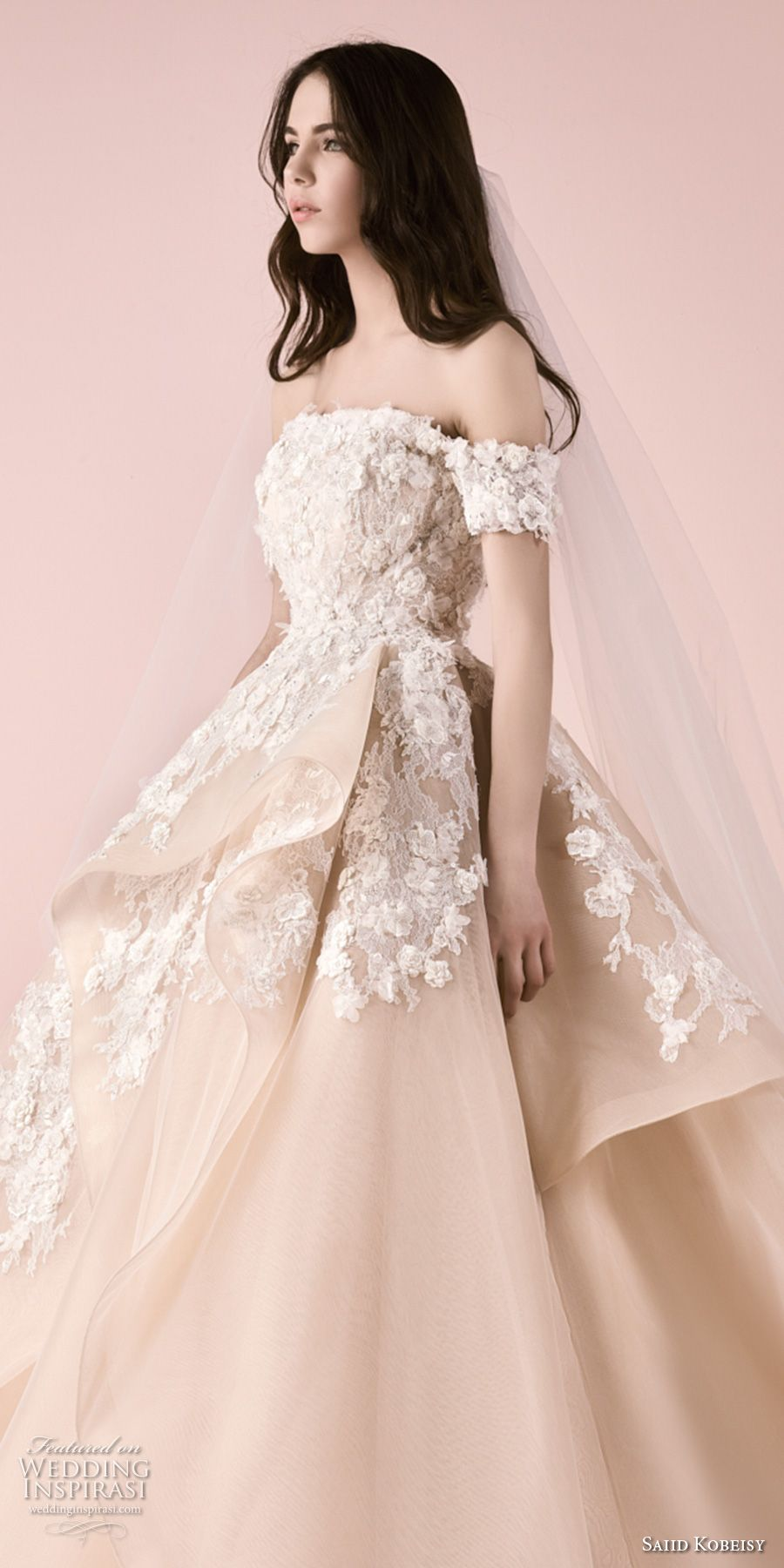 58c87d5119574 saiid kobeisy 2018 bridal off the shoulder straight across neckline heavily  embellished bodice layered skirt princess blush color ball gown wedding  dress ...