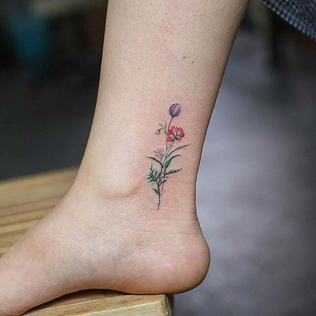 Dainty Flower Ankle Design For Flower Tattoo Ideas For