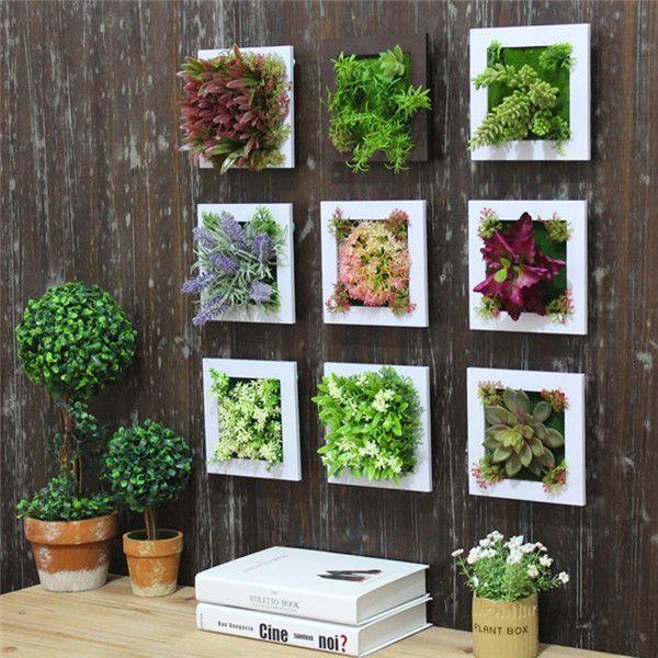 Simulation Flower Frame Artificial Plant Wall Decor Home Garden Wall  Hanging Flower
