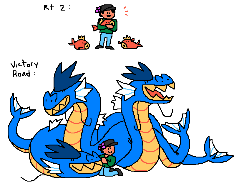 You fight me twice once in early game and then again in Victory Road All three Gyarados know Earth