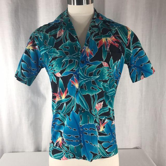 fe5e6fa0 Vtg 80s Hilo Hattie Mens S Hawaiian Shirt Birds Of Paradise Blue Turquoise  USA | eBay