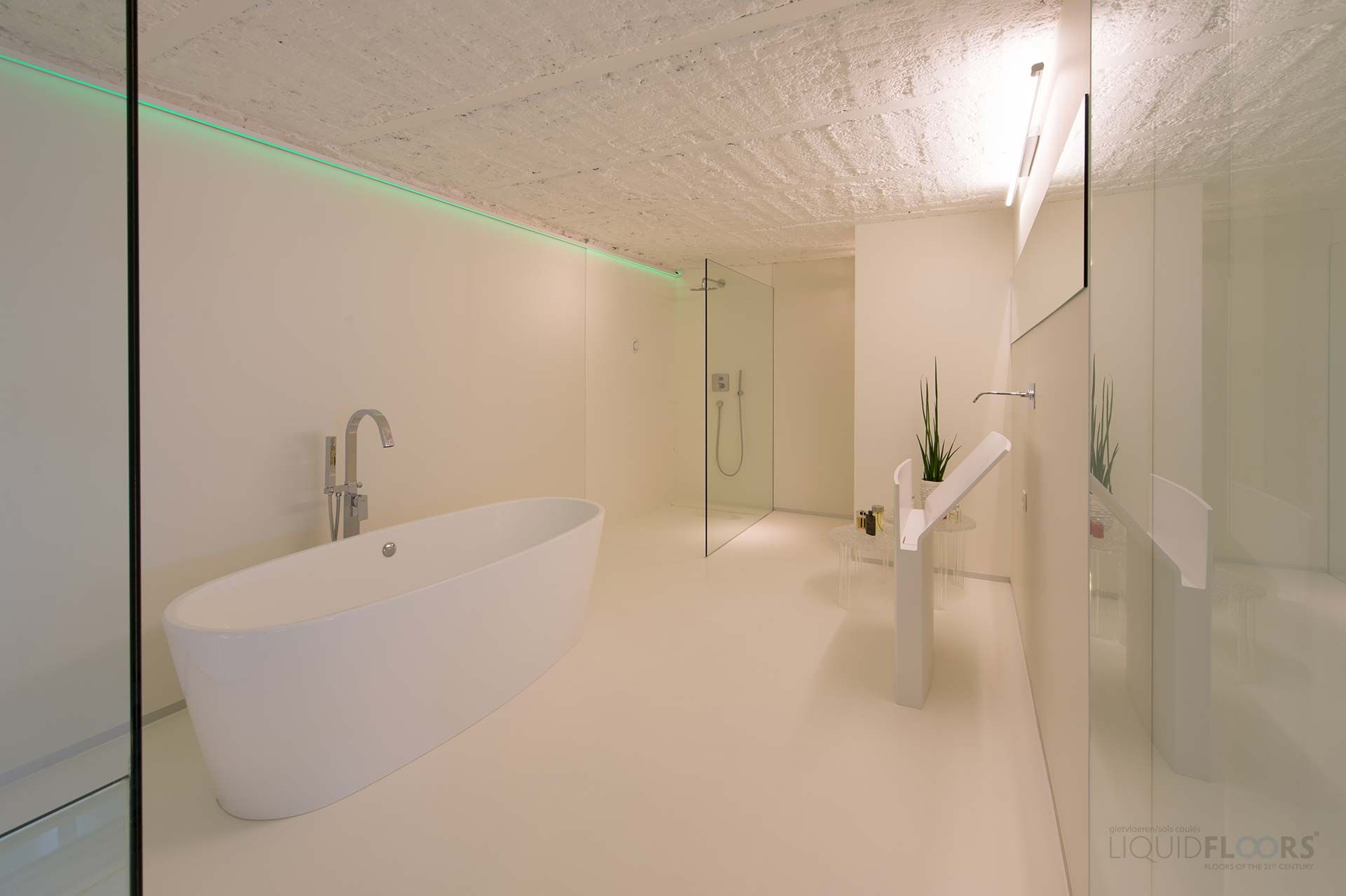 ultra modern design bathroom with casting floor and walk in shower