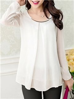 5b713beb36e3 gasa plisada ericdress blusa de manga larga … | Blusas | Blusa…