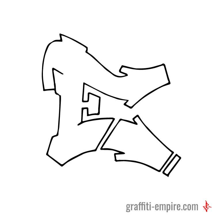 E Graffiti Letter In Simple Style Done With Pencil On Paper And 05 Multi Liner Copic Marker From EMpire