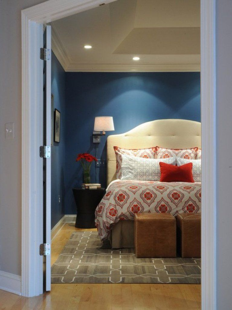 Feminine Navy Blue Bedroom | Blue bedroom, Contemporary ...