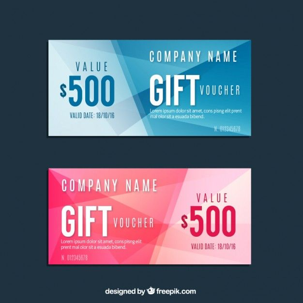 Geometric Blue And Pink Gift Voucher Set Free Vector Must Do   Design Gift  Vouchers Free  Design Gift Vouchers Free