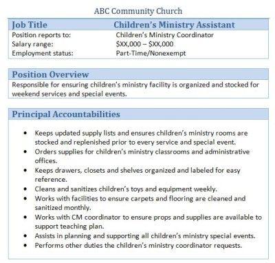 Sample Church Employee Job Descriptions | Job description and Churches