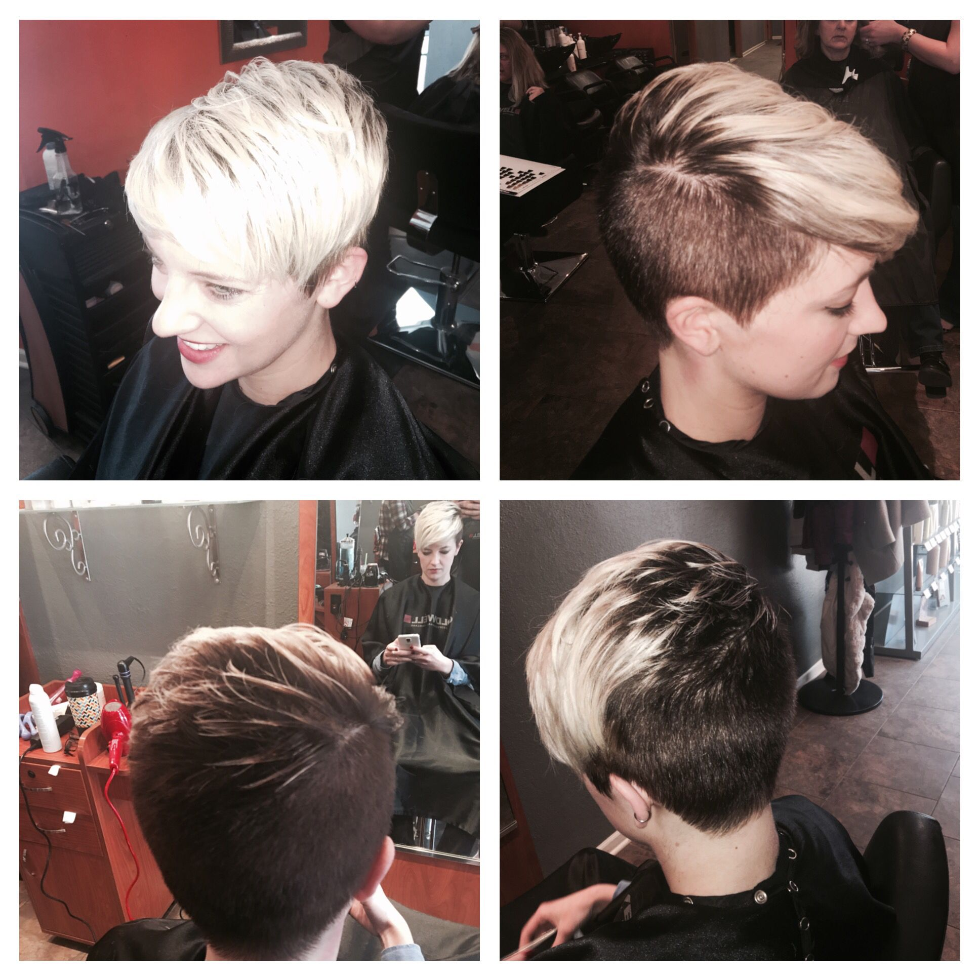 Short Pixie Haircut And Platinum Ombre Color Ombre Haircut Haircolor Pixie Hair Today Blonde Ombre Hair Styles
