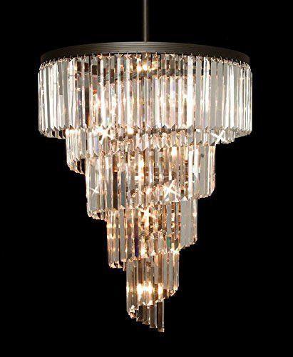 Retro Odeon Crystal Glass Fringe 5 Tier Chandelier
