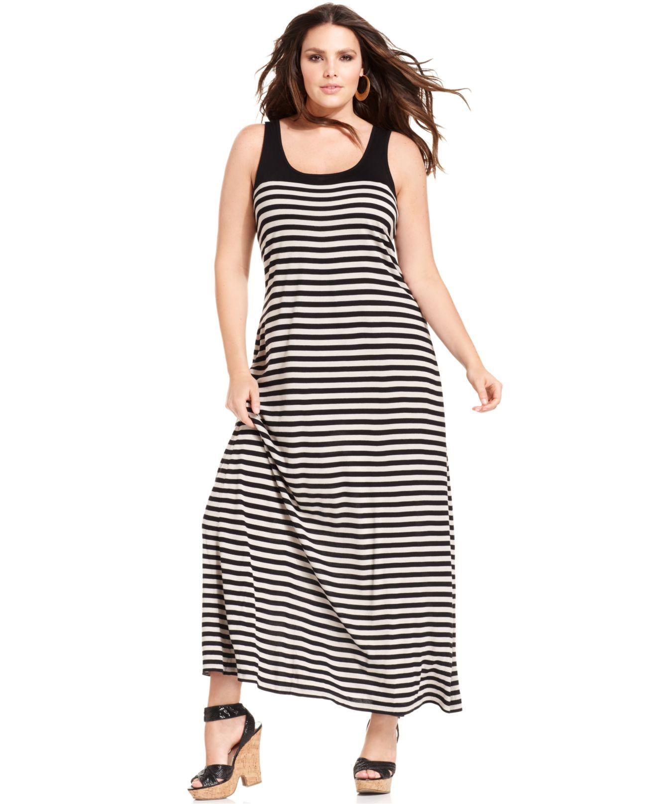 Dknyc Plus Size Dress Sleeveless Striped Maxi Plus Size Dresses