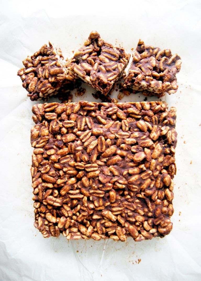 Peanut butter puffed wheat squares occasionally eggs
