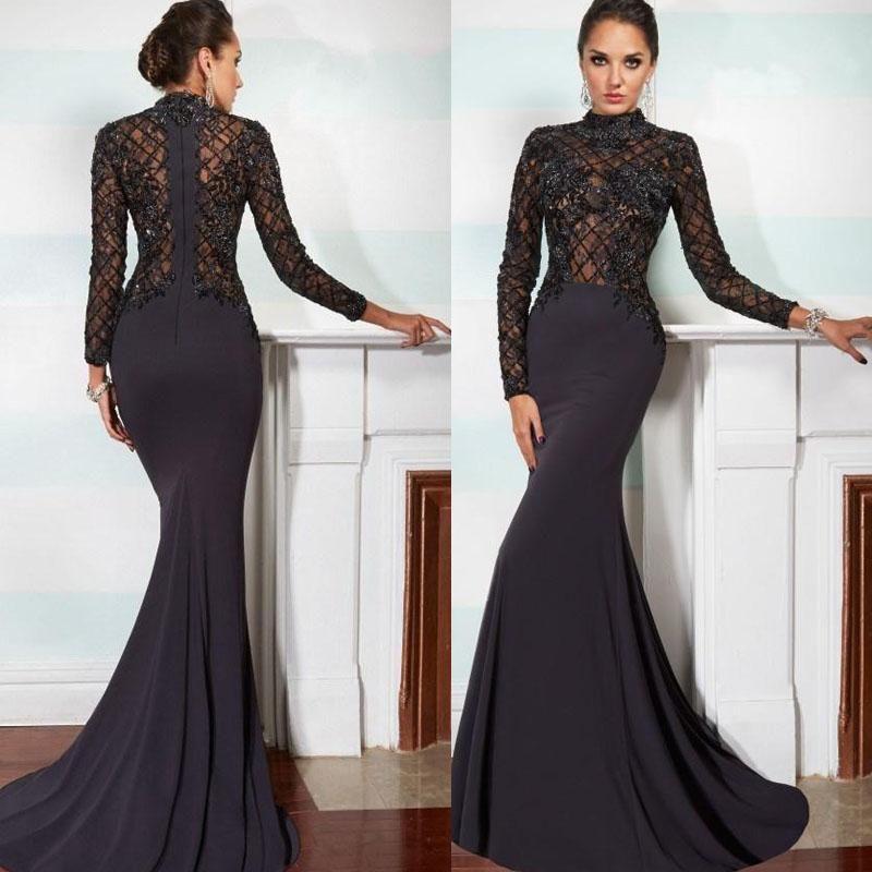 2017 Elegant Janique Mermaid Mother Of The Bride Dresses High Neck Long Sleeve Lace Lique Black