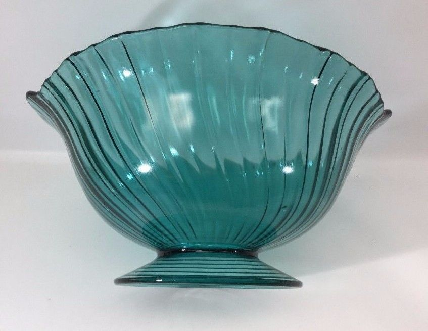 Petal Swirl Ultra Marine 10 034 Footed Bowl w Handles Depression Jeannette Glass | eBay