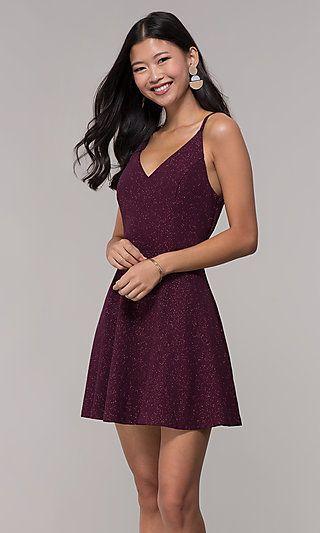 Short Open-Back Glitter Party Dress in Raisin Purple ...