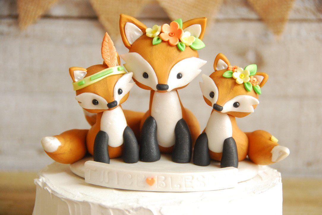 Fox Cake Topper Fox baby Fox Baby Shower cake topper Woodland baby shower cake topper Fox It/'s a boy topper Fox It/'s a Girl cake topper