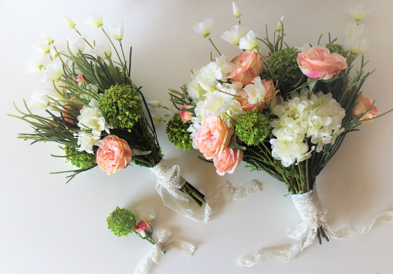 Summer Wedding Bouquet Set, Large Bride Bouquet, Matching