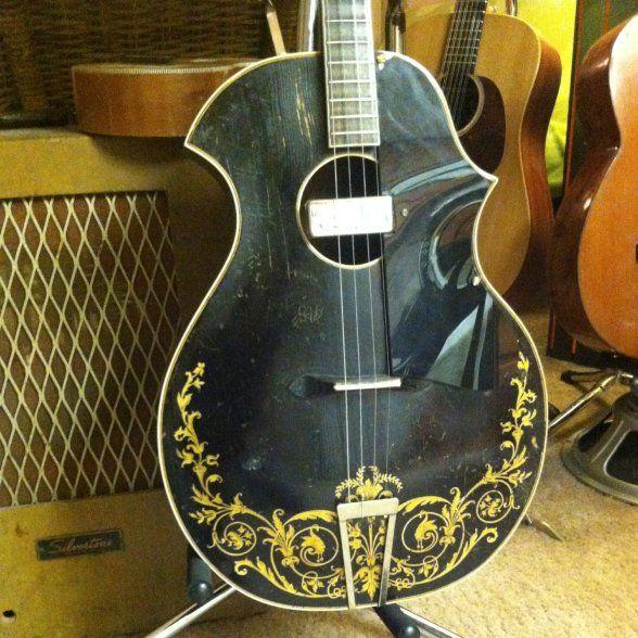 Recording King Tenor Guitar 1920 S Black Gold Electric Rachel Roberto S Reverb Tenor Guitar Guitar Archtop Guitar