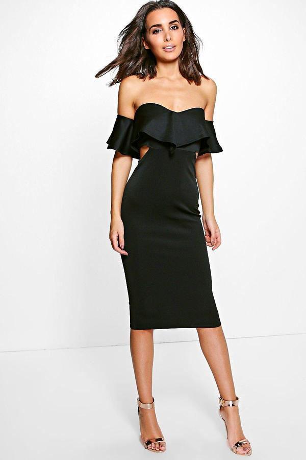 39d3a469469c boohoo Kyra Frill Detail Midi Bodycon Midi Dress   ~Fashion ...