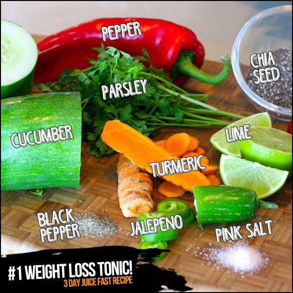 1 Weight Loss Tonic 3 Day Juice Cleanse Recipe Health Pinterest