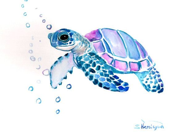 Sea Turtle Original Watercolor Painting 9 X 12 In Sea Animal