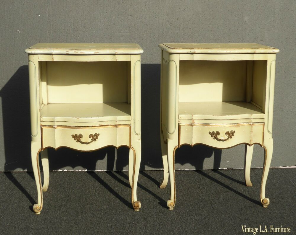 Pair Of Vintage French Provincial Yellow Creme Nightstands Finish As Is Afflink When You Click On Links To Various With Images French Provincial French Vintage Furniture